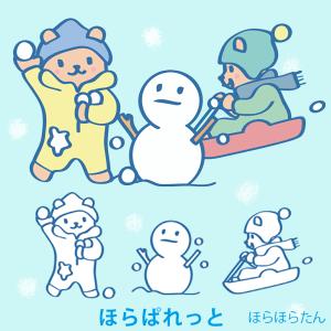 雪合戦、ソリ、雪だるまのカット絵
