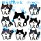 黒白ぶち猫の8表情イラスト / ディフォルメ和ねこキャラ