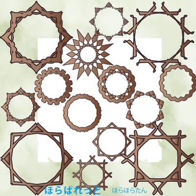 ファンタジーな雰囲気の木彫り風額縁フレーム素材のサンプル画像