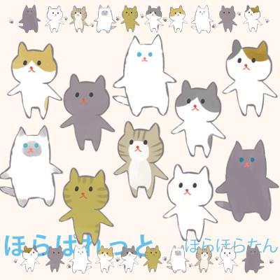 ヒマラヤン、チンチラペルシャ、黒猫、白猫、キジ猫、三毛猫、虎猫、黒ブチ、茶ブチ猫