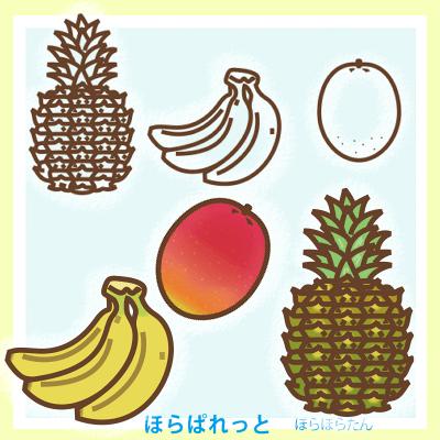 南国果物トロピカルフルーツのシンプルイラスト。パイナップルとバナナとマンゴー