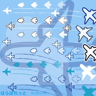 飛行機と直線の飛行機雲と曲線の飛行機雲と雲形矢印のイラスト素材のサンプル画像
