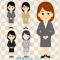 女性社員イラスト / お仕事の挨拶・案内をするスタッフの全身画