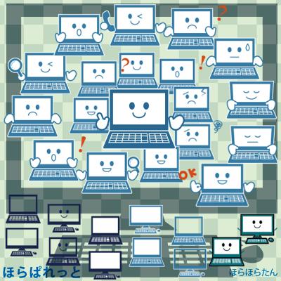 かわいいパソコンイラスト素材(マスコットキャラクターやマークに)のサンプル画像