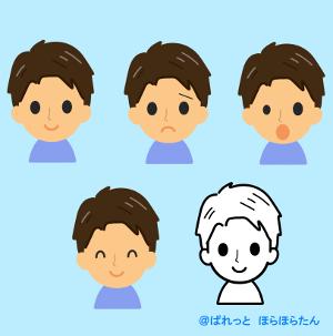 男性の4つの表情イラスト