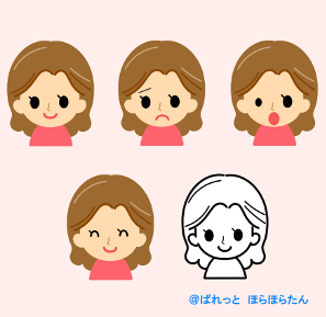 女性の顔イラスト(4つの表情 ...