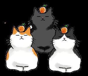 猫のお正月鏡餅-年賀状フリー素材