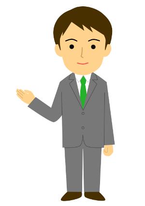 ビジネス用無料イラスト案内・説明のポーズ(スーツのサラリーマン)