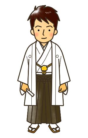 成人式無料イラスト、羽織袴、着物の男性、結婚式にも!