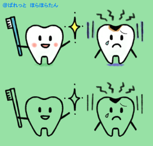 歯ブラシを持った健康歯のキャラクターと虫歯のキャラクター