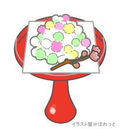 雛祭りのお菓子・雛あられの高杯盛りイラストのサンプル画像