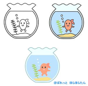 金魚鉢の中の金魚のイラスト