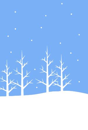 雪の木立冬の風景寒中見舞いはがき背景無料イラスト素材