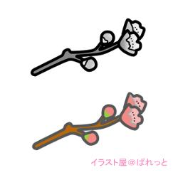 桃の花の枝のイラスト・カラーとモノクロ