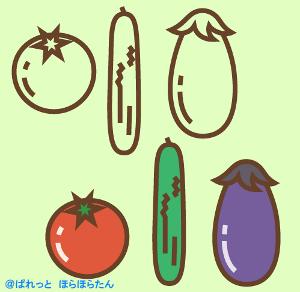 夏野菜のトマト、胡瓜、茄子のイラスト