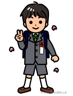 4月入学式ランドセルの新一年生の男の子無料イラスト