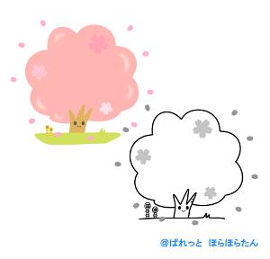 お花見桜のフレームイラスト