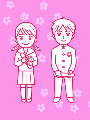 春、卒業式、桜背景