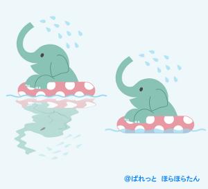浮き輪で水遊びのゾウさんイラスト