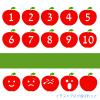 リンゴのかわいいアイコンポイントイラスト/数字と表情/ランキングやナンバリングに