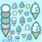 アイス・ソフトクリームイラスト / カップとコーンのパーツも