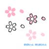 桜の花イラスト(花弁と花びら) / カラーと白黒のシンプルマーク