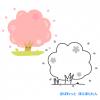 お花見!桜の木のフレームイラスト / カラーと白黒印刷用