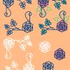 薔薇の花のイラストのフレームとマーク / シンプルタッチ
