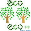木のイラスト と 葉っぱでECO(エコ)の文字イラスト / 緑の葉っぱ