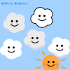 もくもく雲のイラスト(曇りマーク) / 白い雲と雨雲の灰色雲
