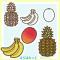 南国果物イラスト(トロピカルフルーツ)/ パイナップル・バナナ・マンゴー