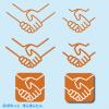握手イラストマーク / 絆、友好、親交、仲直り、契約、安心、信頼、提携の表現に