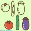 夏野菜イラスト(トマト・きゅうり・なす) / シンプル