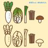 鍋野菜イラスト(大根・白菜・ネギ・しいたけ・えのき) / 収穫祭や八百屋さんPOPに