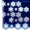 聖夜、ホワイトクリスマスの演出素材 / 黒い背景に映える雪の結晶
