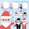 サンタクロースのイラスト / サンタさんの顔と全身、プレゼントの袋でフレーム
