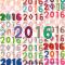 年賀状2016年の数字イラスト / デザイン印刷に