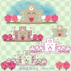 春の学校校舎イラスト / 校庭の桜つき